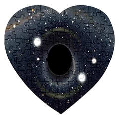Brightest Cluster Galaxies And Supermassive Black Holes Jigsaw Puzzle (heart) by Mariart