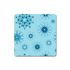 Blue Winter Snowflakes Star Square Magnet by Mariart