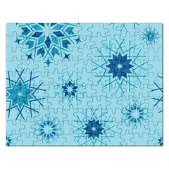 Blue Winter Snowflakes Star Rectangular Jigsaw Puzzl