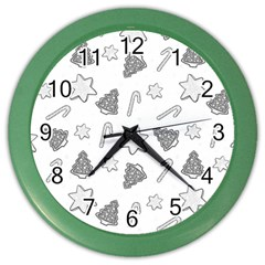Ginger Cookies Christmas Pattern Color Wall Clocks by Valentinaart
