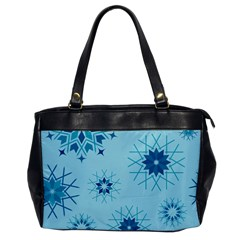 Blue Winter Snowflakes Star Office Handbags by Mariart