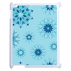 Blue Winter Snowflakes Star Apple Ipad 2 Case (white) by Mariart