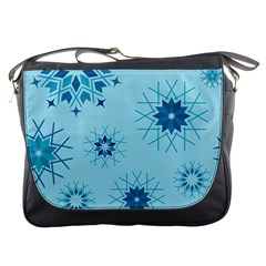 Blue Winter Snowflakes Star Messenger Bags by Mariart