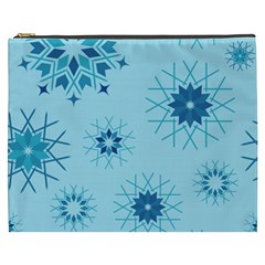 Blue Winter Snowflakes Star Cosmetic Bag (xxxl)  by Mariart