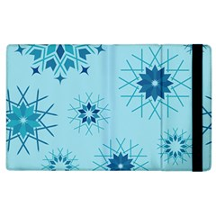 Blue Winter Snowflakes Star Apple Ipad 2 Flip Case by Mariart
