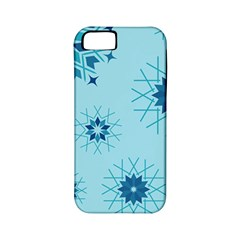 Blue Winter Snowflakes Star Apple Iphone 5 Classic Hardshell Case (pc+silicone) by Mariart