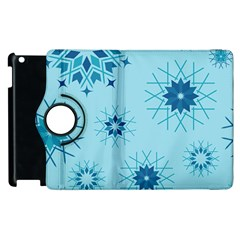 Blue Winter Snowflakes Star Apple Ipad 3/4 Flip 360 Case by Mariart