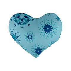 Blue Winter Snowflakes Star Standard 16  Premium Heart Shape Cushions by Mariart