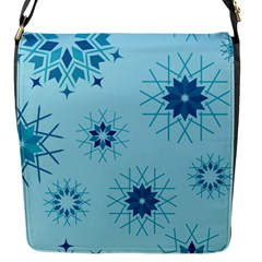 Blue Winter Snowflakes Star Flap Messenger Bag (s) by Mariart