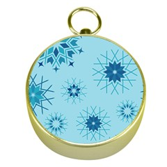 Blue Winter Snowflakes Star Gold Compasses by Mariart
