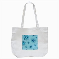 Blue Winter Snowflakes Star Tote Bag (white) by Mariart