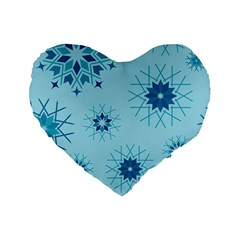 Blue Winter Snowflakes Star Standard 16  Premium Flano Heart Shape Cushions by Mariart