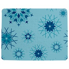 Blue Winter Snowflakes Star Jigsaw Puzzle Photo Stand (rectangular)