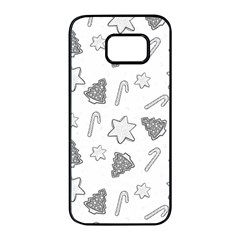 Ginger Cookies Christmas Pattern Samsung Galaxy S7 Edge Black Seamless Case by Valentinaart