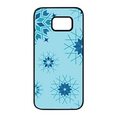 Blue Winter Snowflakes Star Samsung Galaxy S7 Edge Black Seamless Case by Mariart