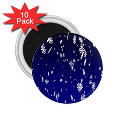 Blue Sky Christmas Snowflake 2 25  Magnets (10 Pack)  by Mariart