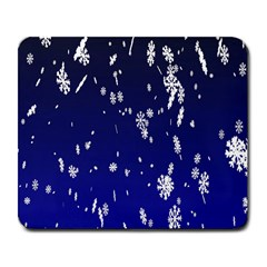 Blue Sky Christmas Snowflake Large Mousepads by Mariart