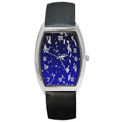 Blue Sky Christmas Snowflake Barrel Style Metal Watch by Mariart
