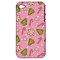 Ginger Cookies Christmas Pattern Apple Iphone 4/4s Hardshell Case (pc+silicone) by Valentinaart