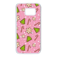 Ginger Cookies Christmas Pattern Samsung Galaxy S7 White Seamless Case by Valentinaart