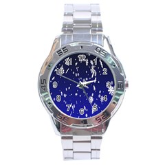 Blue Sky Christmas Snowflake Stainless Steel Analogue Watch by Mariart
