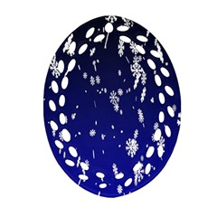 Blue Sky Christmas Snowflake Oval Filigree Ornament (two Sides)