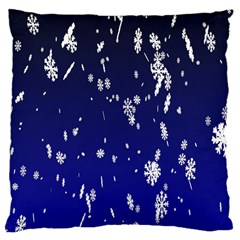 Blue Sky Christmas Snowflake Large Cushion Case (one Side) by Mariart