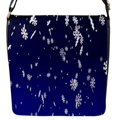 Blue Sky Christmas Snowflake Flap Messenger Bag (s) by Mariart