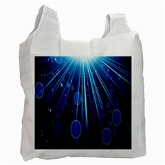 Blue Rays Light Stars Space Recycle Bag (two Side)  by Mariart