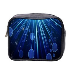 Blue Rays Light Stars Space Mini Toiletries Bag 2 Side by Mariart