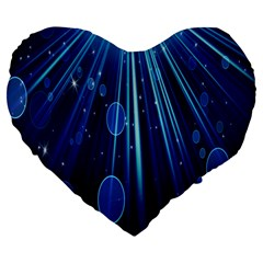 Blue Rays Light Stars Space Large 19  Premium Heart Shape Cushions by Mariart