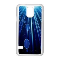 Blue Rays Light Stars Space Samsung Galaxy S5 Case (white)