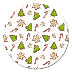 Ginger Cookies Christmas Pattern Magnet 5  (round) by Valentinaart
