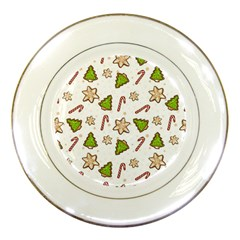 Ginger Cookies Christmas Pattern Porcelain Plates by Valentinaart