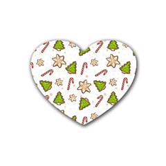 Ginger Cookies Christmas Pattern Rubber Coaster (heart)  by Valentinaart