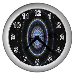 Colorful Hypnotic Circular Rings Space Wall Clocks (silver)  by Mariart