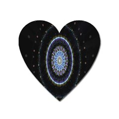 Colorful Hypnotic Circular Rings Space Heart Magnet by Mariart