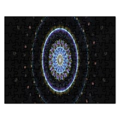 Colorful Hypnotic Circular Rings Space Rectangular Jigsaw Puzzl by Mariart