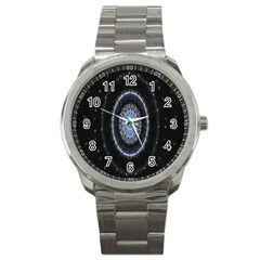 Colorful Hypnotic Circular Rings Space Sport Metal Watch by Mariart