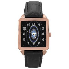 Colorful Hypnotic Circular Rings Space Rose Gold Leather Watch  by Mariart