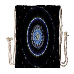 Colorful Hypnotic Circular Rings Space Drawstring Bag (large) by Mariart