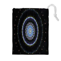 Colorful Hypnotic Circular Rings Space Drawstring Pouches (extra Large) by Mariart
