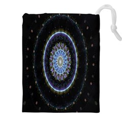 Colorful Hypnotic Circular Rings Space Drawstring Pouches (xxl) by Mariart