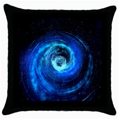 Blue Black Hole Galaxy Throw Pillow Case (black) by Mariart