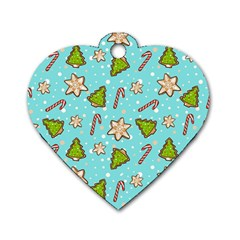 Ginger Cookies Christmas Pattern Dog Tag Heart (one Side) by Valentinaart