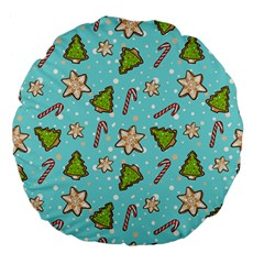 Ginger Cookies Christmas Pattern Large 18  Premium Flano Round Cushions by Valentinaart