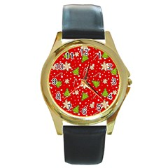 Ginger Cookies Christmas Pattern Round Gold Metal Watch by Valentinaart