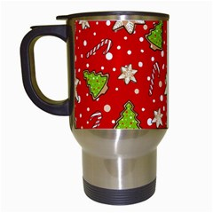 Ginger Cookies Christmas Pattern Travel Mugs (white) by Valentinaart