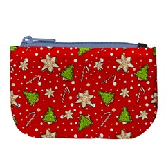 Ginger Cookies Christmas Pattern Large Coin Purse by Valentinaart