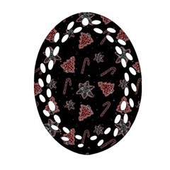 Ginger Cookies Christmas Pattern Ornament (oval Filigree) by Valentinaart